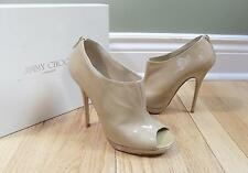 Jimmy Choo Women's Shoes 38.5 Patent Leather Nude Glint Open Toe Ankle Boot