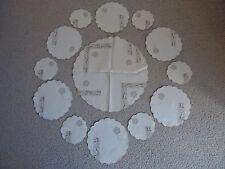 VTG Tea Time TABLE SET Ecru Linen Lace Placemats Coasters Topper Doilies Unique!