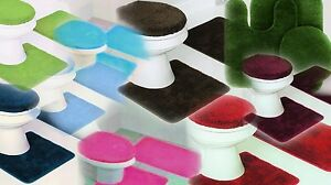 SOLID ASSORTED COLORS BATH RUG CONTOUR MAT TOILET LID COVER BATHROOM SET 3PC #6