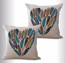 US SELLER-2pcs throw pillows for leather couch feather heart cushion cover