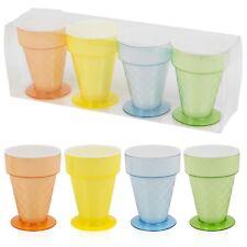 Set Of 4 300ml Plastic Ice Cream Cups Fruit Punch Dessert Cone Dish Cup