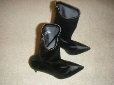 Ladies Black Faux Satin Slim Heeled Boots Size 8 from New Look