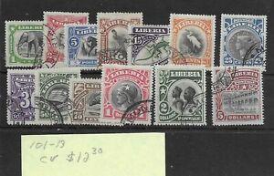 Liberia #101-113 Used - Stamp - CAT VALUE $12.30