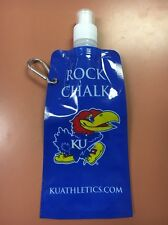 KU Collapsible Water Bottle 16 Oz. W/ Keychain Rock Chalk Jayhawks Kansas