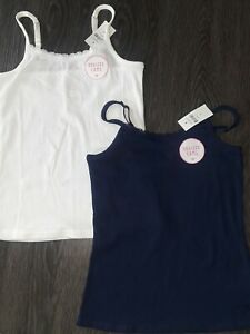 2 Girls justice lace trim braless cami size 10 new navy & white