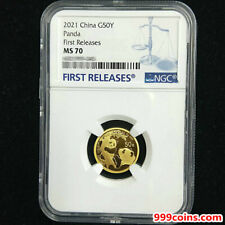 2021 China panda 3g gold coin 50 yuan NGC MS70 first releases
