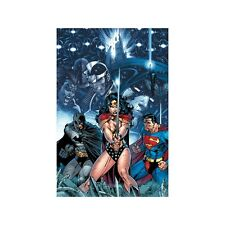 JIM LEE rare INFINITE CRISIS paper giclee SUPERMAN BATMAN WW WB art COA!!