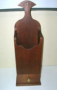 """Vintage Wood Cherry? Mail Holder w/ Drawer Hang or Stand 19"""" T x 6.25"""" Handmade"""