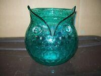 ASHLAND ART GLASS OWL SHAPED BOWL / TEAL BLUE / NWT