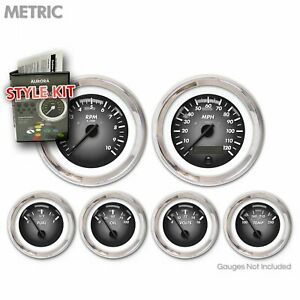 Gauge Face Set Classic Retro Rod Metric Pulsar Gray Black Needles Chrome Trim