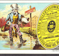 Uncle Sam 1880's Eagle Frank Millers Patriotic Blacking Oil Victorian Trade Card