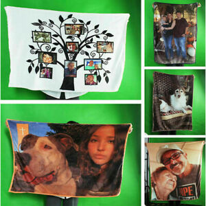 Photo Custom Blanket Flannel Fleece Picture Personalized Baby Adult Name Throw