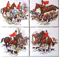 "Fox Hunt Ceramic Tiles Horse Equestrian Rider 4 of 4.25"" Kiln Fired Decor"