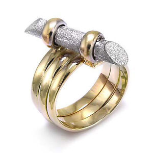 14k Two-Tone Gold Spiral Twig Ring #R914.