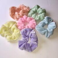 6 Scrunchies Hair Tie Ponytail Pastel Rainbow Velvet Velour 80s VSCOGirl eGirl
