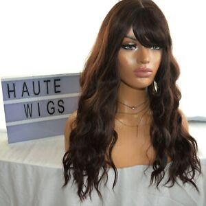 LONG COFFEE BRUNETTE BROWN Wig HAIR Fringe / Bangs WAVY THICK AMAZING WOMENS WIG