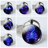 12 Constellations Charm Fashionable Glass Key Chain Exquisite Keyring