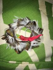Vintage Hand Crafted REAL FEATHER WREATH W/ BIRD Christmas Ornament Brwn&White