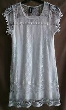 IZABEL LONDON SIZE 10 CREAM LACE POM POM DRESS FULLY LINED WORN ONCE FREE P&P