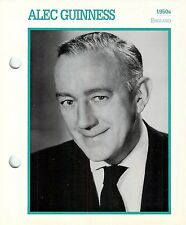 """Alec Guinness 1950's Actor Movie Star Card Photo Front Biography on Back 6 x 7"""""""