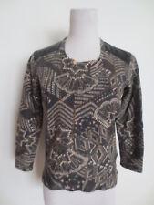 Shirt Top SPORTALM Materialmix ca 34 36 S (38) schwarz braun Fehler /H1