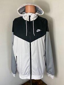 Nike men's full zip nylon packable hoodie windbreaker track jacket size Large