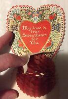 VTG 1930 HONEYCOMB Heart VALENTINE CARD