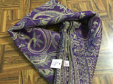 "Purple PASHMINA 100% Polyester Long Paisley Scarf w/ Fringe ~ 66"" L x 27"" W NWT"