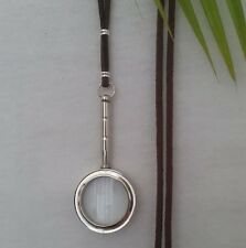 Magnifying Glass Statement Necklace - Pendant petite silver bn cord long adjust
