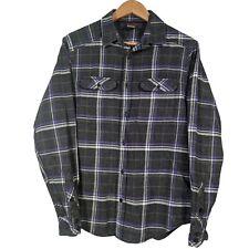 Tony Hawk Grey & Purple Check Long Sleeve Button Up Flannel Shirt - Mens Medium