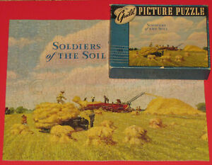 """VINTAGE RARE GUILD PICTURE PUZZLE JIGSAW """"SOLDIERS OF THE SOIL"""" FUN FIGURALS -1"""