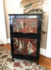 Antique Oriental Chinese Black Lacquer Cabinet