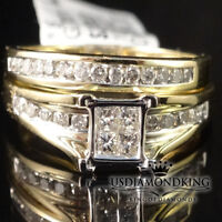 Princess Cut Diamond Bridal Set 10K Yellow Gold Ladies Engagement Wedding Ring