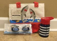 NEW 3PC Pottery Barn Kid Mini Preppy Tote + Goggles + Water Bottle Set
