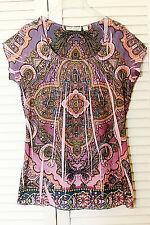 B Friends Knit Ladies Top, Bohemian, BOHO, NWOT, Size M, Pink Paisley Print