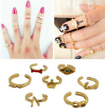 Lot 7Pcs Eye Bow Heart Wing Crown Above Knuckle Band Finger Charm Midi Rings Set
