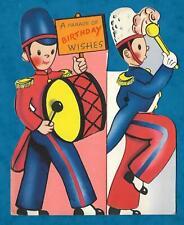 1950s UNUSED SHAPED BIRTHDAY CARD SOLDIER BANDSMEN - DRUMMER & LEADER