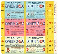1964 Chicago White Sox Phantom World Series Tickets Block of 3 NRMT