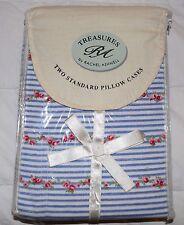 Rachel Ashwell Treasure Standard Pillow Cases/2 Shabby Chic Red ROSE Blue Stripe