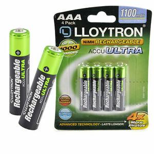 Lloytron AAA Rechargeable Batteries NiMH 1100mAh Cordless Phone Remote HR03