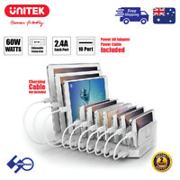 60W 10-Port Charging Station USB with BC1.2 Fast Charge Dock for Apple/Android