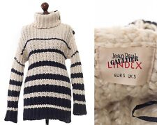 Women's JEAN PAUL GAULTIER Lindex Sweater Knitted Striped White Blue Size S