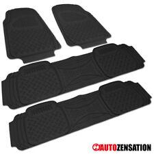 Black Front+Rear 3D Non-Slip Rubber Print Heavy Duty All Weather Floor Mat