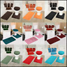 7PC SOFT BATHROOM SET BATH MAT CONTOUR RUG TOILET LID COVER + CERAMIC ACCESORIES