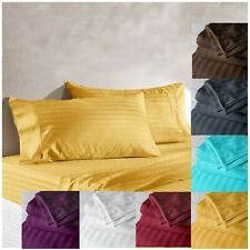 Satin Striped Sheet Cotton Fitted Bedsheet Luxury Wrinkle Resistant Bedding Set