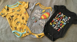 One Piece Baby Outfit Sz 0-3 Mos Dr. Seuss Oh The Places You'll Go Cat Hat Lot 3