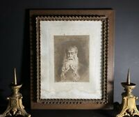 Large French Antique Black and White Framed Print - Bearded Man  (63x53cm)