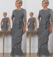 Long Lace Mother Of The Bride Dresses Outfit Wedding Party Mum Evening Prom Gown