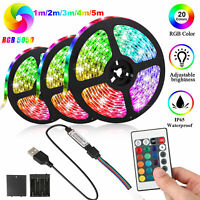 Battery Powered 5050 SMD Tape RGB LED Strip Light Flexible Waterproof 1/2/3/4/5M