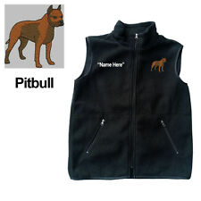Pitbull Dog Fleece Vest with Zippers Personal Name Stitched Monogrammed